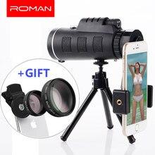 ROMAN Mobile Phone Camera Lens 40x Telescope Telephoto 40X60 Lenses + 3in1 Fisheye Wide Angle Macro Lentes for Samsung