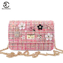 RARE CREATIVE 2019 New Fashion Wool Women Messenger Bags Cross Body Pearl Chain Shoulder For Ladies Designer HL4011