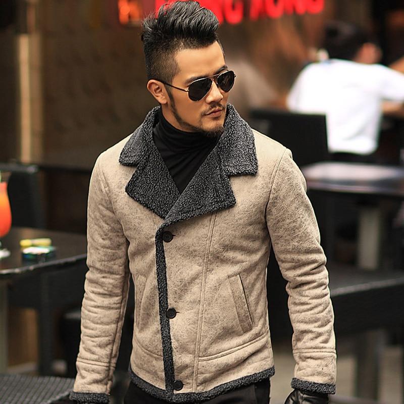 2020 Autumn Vintage Old Leather Jacket Men Wool Lining Men Warm Fur Collar Jacket Mens Faux Leather Short Jacket Coat