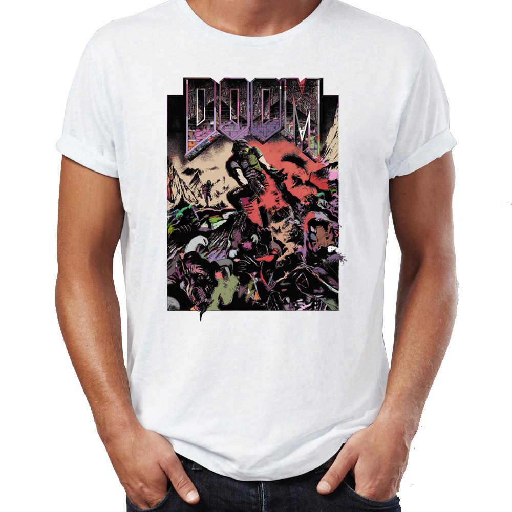 Męskie koszulki Doom Doom Guy chcesz, aby zgrywać i łza gry gracza niesamowite grafiki drukowane główna ulica koszulki