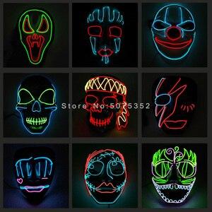 Masque pełna twarz maska led Cosplay grymas Mascara podświetlany przewód klaun z horroru maska Joker maska na halloween wielkanoc karnawał Decor