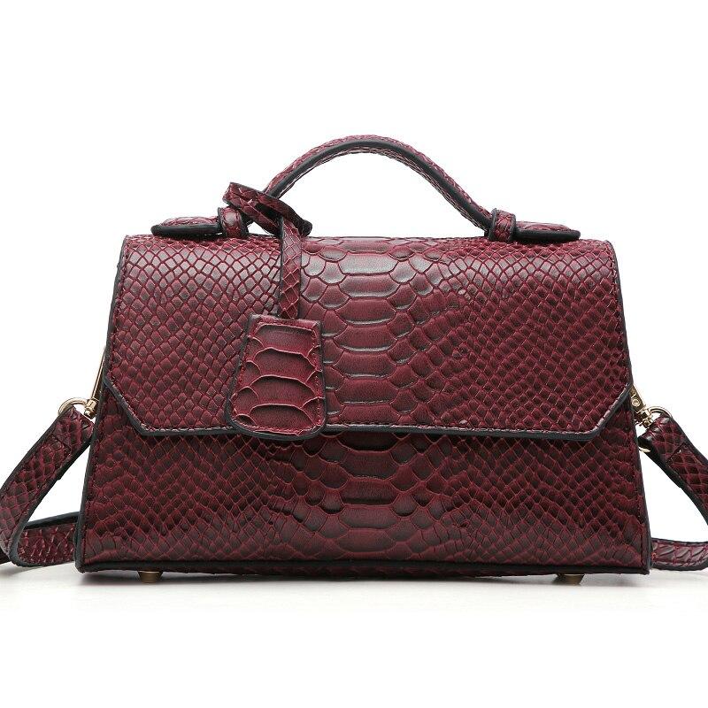 INS Fashion Maroon Ostrich Python Ladies Clutch Bag Pendant Tote Bag Women Snake Pattern Tote Handbag Purse