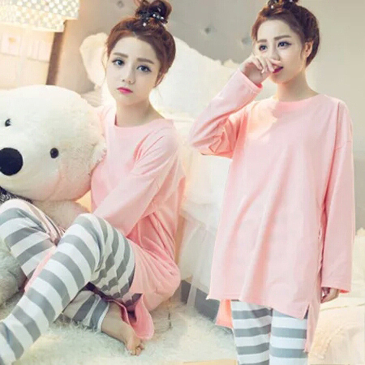 Korean-style Spring And Autumn Long Sleeve Thin Mid-length Pajamas Women's Solid Color Cute Sweet Princess Homewear Set