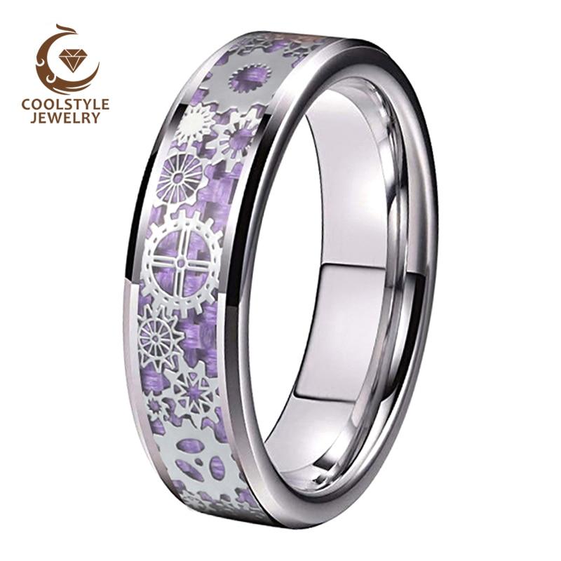 6MM Men Women Wedding Band Tungsten Carbide Ring With Gear wheel Purple Carbon Fiber Inlay Beveled Edges Comfort Fit