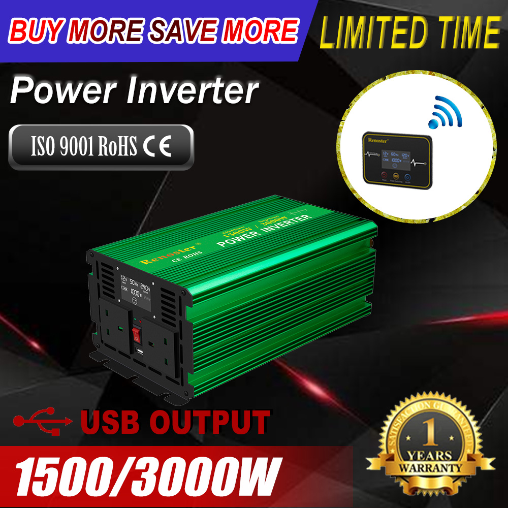 Renoster 12V 220V <font><b>inverter</b></font> <font><b>1500W</b></font> 3000w pure sine wave power <font><b>inverter</b></font> with lcd power invertor with remote controller converters image