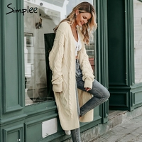 Simplee Solid long sweater cardigan women Long sleeve streetwear ladies outwear jumper coat Casual female winter sweater coat