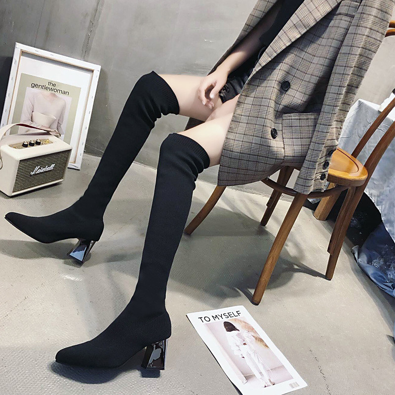 2019 Online Celebrity Over-the-knee Boots Elasticity Biker Boots New Style High-Heel Martin Boots Hose