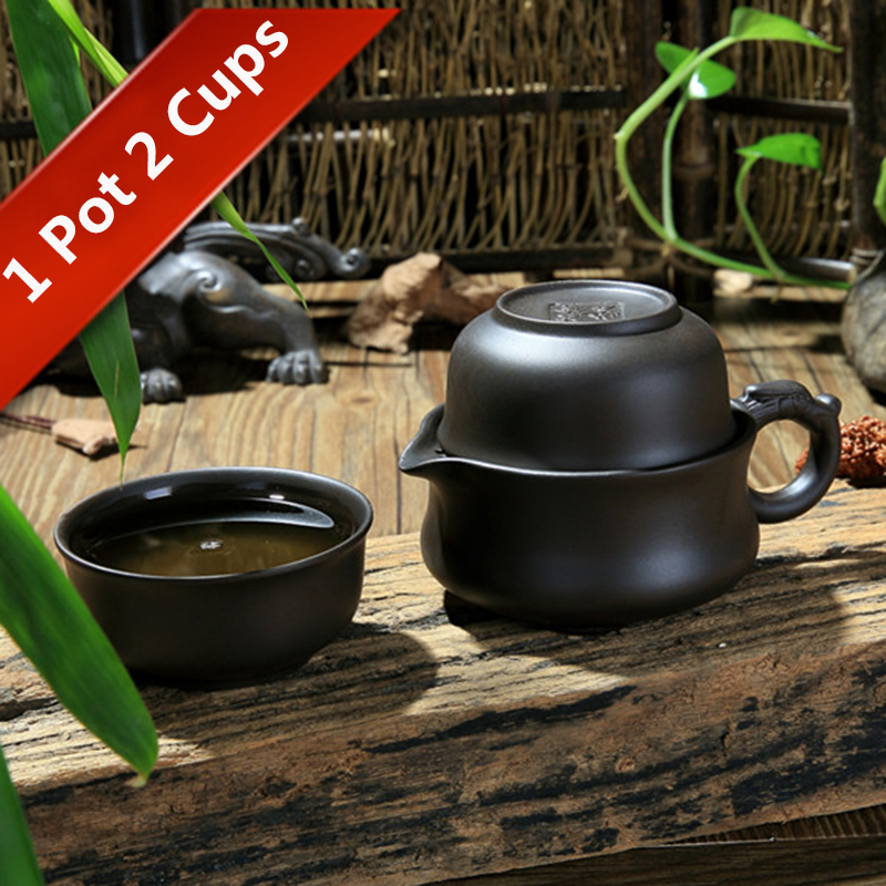 Travel Tea Set 1 Teapot 2 Cups Kung Fu Teacup Chinese Gaiwan Kettle Drinkware Portable Tea Cup Home Office Hiking Picnic Camping