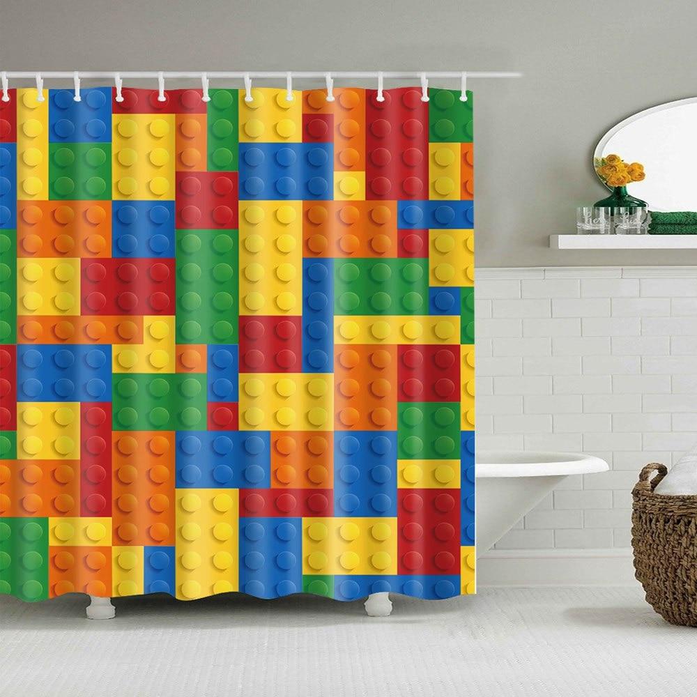 Dafield-rideau de douche Lego pour enfants | Rideau de douche pour enfants, dessin animé dinosaure, hippodas, carte du monde, tissu nautique, salle de bains, dinosaure pour enfants