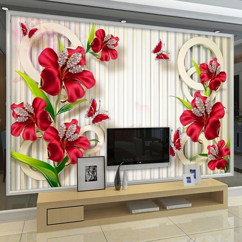 Custom Mural Wallpaper 3D Jewelry Diamond Flower Butterfly Wall Painting Living Room TV Background Photo Wall Papel De Parede