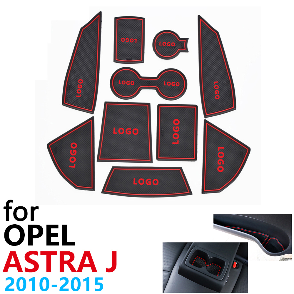 Anti-Slip Rubber Cup Cushion Door Groove Mat For Opel Astra J Vauxhall Holden 2010~2015 Accessories Car Stickers Mat For Phone
