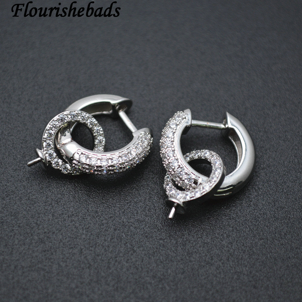 High Quality Metal Circle Shape Pin Round Earring Hooks Jewelry Findings Zircon Beads Setting 30pc Per Lot Fit Half Hole Stones