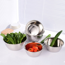 New Round Stainless Steel Multi-sizes Bowl Basin Thickened Vegetable Dessert Container Multi Purpose Kitchen Supplies D35