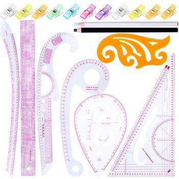 LMDZ 19 sztuk zestaw do szycia krzywik rysunek krawiec miarka do szycia krawiectwo wzór projekt DIY odzież tanie i dobre opinie Knitting CN (pochodzenie) Linijka Z tworzywa sztucznego Sewing french Ruler Set Sewing ruler multi-functional Sewing Tool