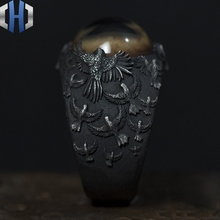 Original Design Handmade Silver Vagina Ring 925 Personality Eyes Crow Tide