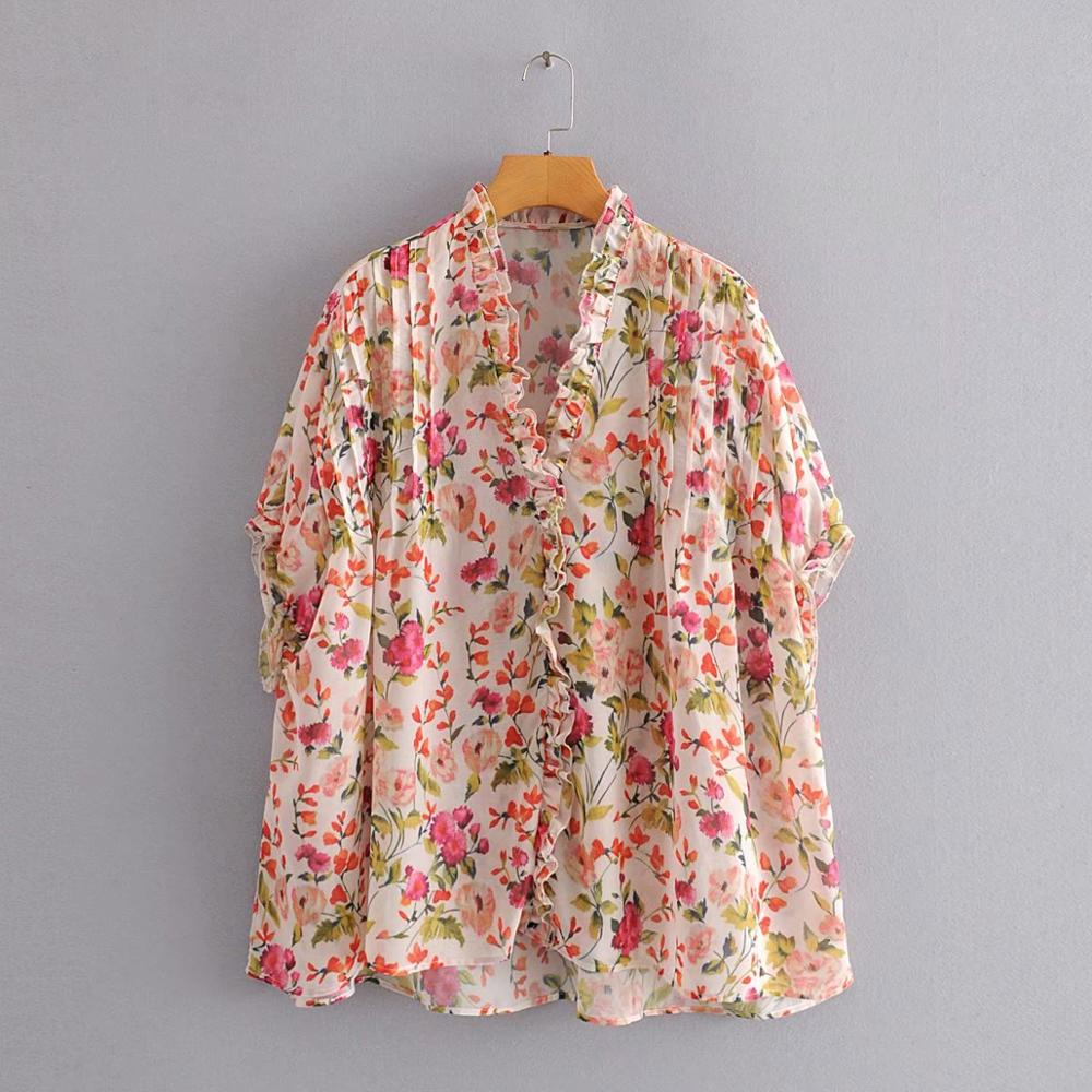 2020 Women V NECK Agaric Lace Floral Print Smock Blouse Shirts Women Batwing Sleeve Femininas Chemise Chiffon Blusas Tops LS6461