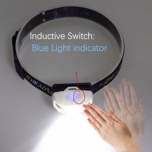 Image 3 - USB 충전식 + 배터리 XML T6 헤드 램프 미니 헤드 라이트 IR 유도 led 전조 등 낚시 손전등 헤드 램프 토치
