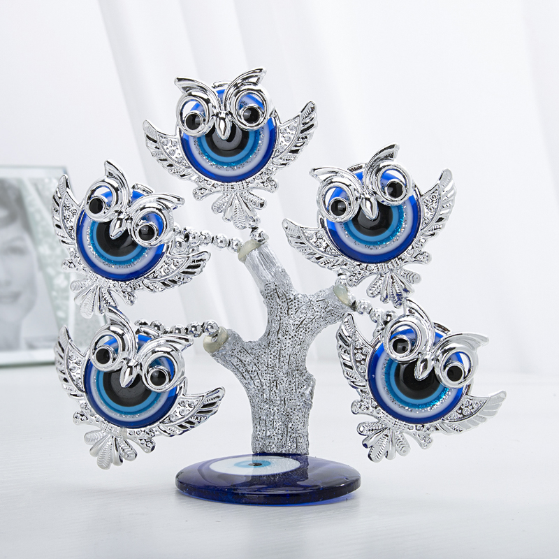 H&D Blue Evil Eye Tree Feng Shui Owl Decorative Collectible Housewarming Gift Showpiece For Protection,Good Luck & Prosperity