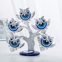 H & D niebieski Evil Eye drzewo Feng Shui sowa dekoracyjne kolekcjonerska parapetówkę prezent wizytówką dla ochrony  powodzenia i dobrobytu w Figurki i miniatury od Dom i ogród na