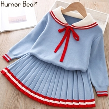 Girls Humor Bear Suit Skirt-Sets Sweater Winter for 2-6T Children College-Style Autumn