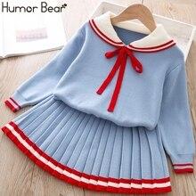 Костюм Humor Bear для девочек, Осень зима, новый комплект из свитера и юбки для девочек в студенческом стиле, модель 2019 года, детская одежда для девочек