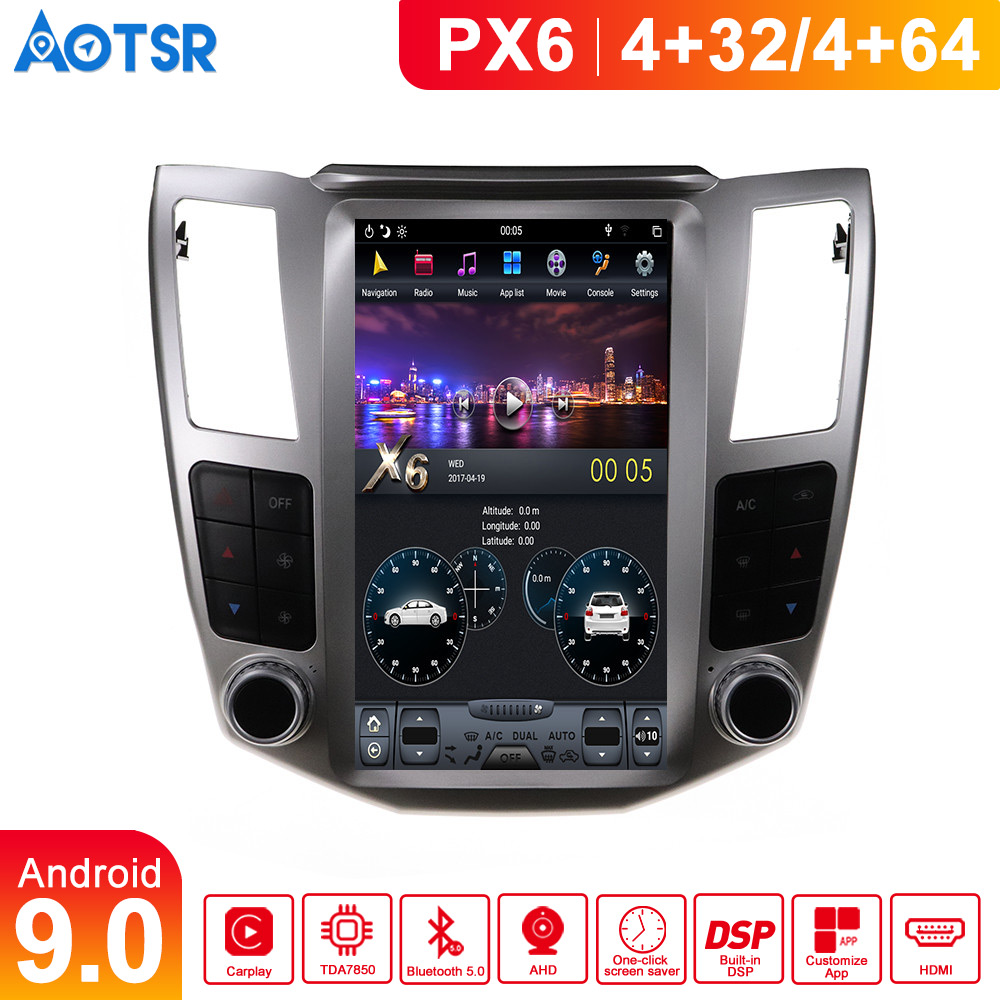 Tesla style <font><b>Android</b></font> 9.0 Car Multimedia Player For <font><b>Lexus</b></font> RX RX300 <font><b>RX330</b></font> RX350 RX400H 2004-2007 GPS Navi radio stereo BT head unit image