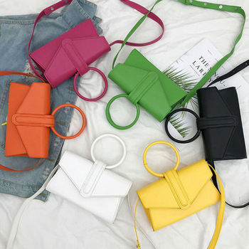 Small fresh messenger bag with ring handle Women's PU Leather Crossbody Bag Magnetic buckle Handbag Simple Shoulder Bag US