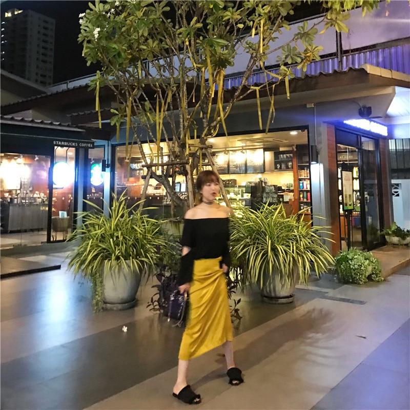 Fashionable Satin Gloss Slimming Back Slit Skirt