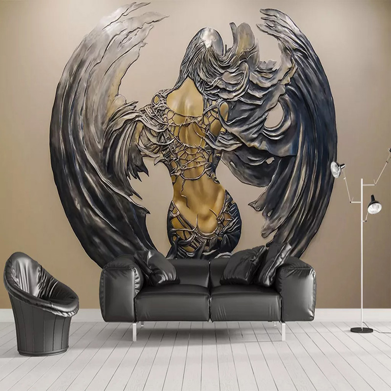 Dropship Custom Photo Wallpaper 3D Relief Abstract Wings Figure Murals Dining Room Art Wall Papers For Walls Papel De Parede
