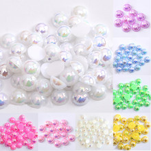 Perles acryliques ABS pour fabrication de bijoux, 2/3/4/5/6/8/10/12/14 MM, Imitation demi-rond à dos plat, couleurs AB, accessoires de bricolage
