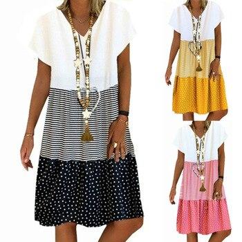 цена Plus Size 2020 Fashion Women Dress Short Sleeve Dress Print Patchwork knee length Dress Ladies Summer Casual Dress онлайн в 2017 году