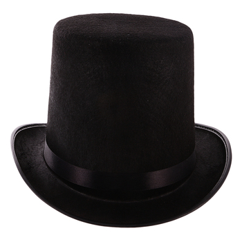Black Polyester Felt Satin Top Hat Magician Hat - Ringmaster Hat Party Costume Accessories One Size Fits Most Adult image