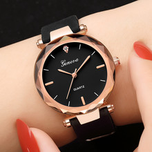 Fashion Geneva Black Irregularly cut round Rose Gold Dial Womens Ladies
