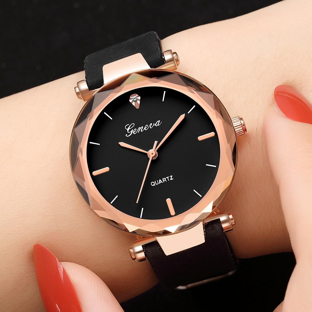 Fashion Geneva Black Irregularly Cut Round Rose Gold Dial Womens Ladies Watches Silicone Band Quartz Wrist Watch Analog Clock