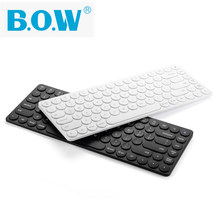 B.O.W Rechargeable Wireless Bluetooth Keyboard Small Round Key Multi-Devices For Computer / Tablet / Phone Silent Typing
