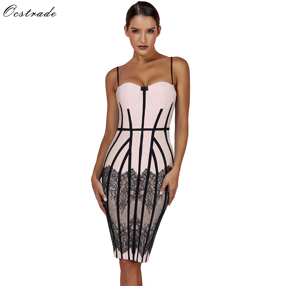 Ocstrade Summer Bandage Dresses 2019 New Spaghetti Strap Black Lace Bodycon Dress Club Evening Party for Women