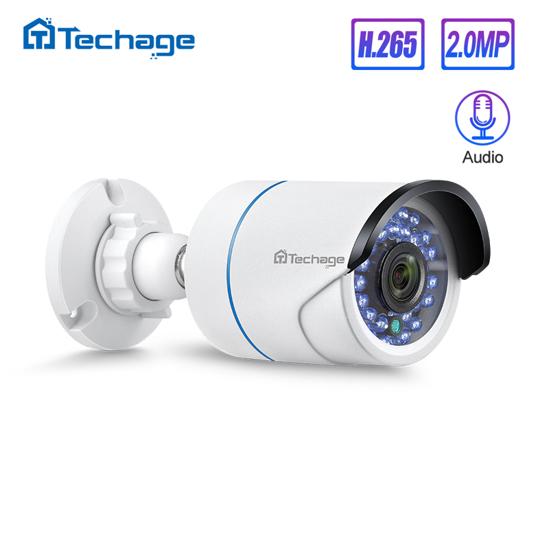 Techage H.265 HD 1080P 2.0MP Audio CCTV POE IP Camera Outdoor Waterproof IR Cut Bullet P2P Onvif Video Security Surveillance