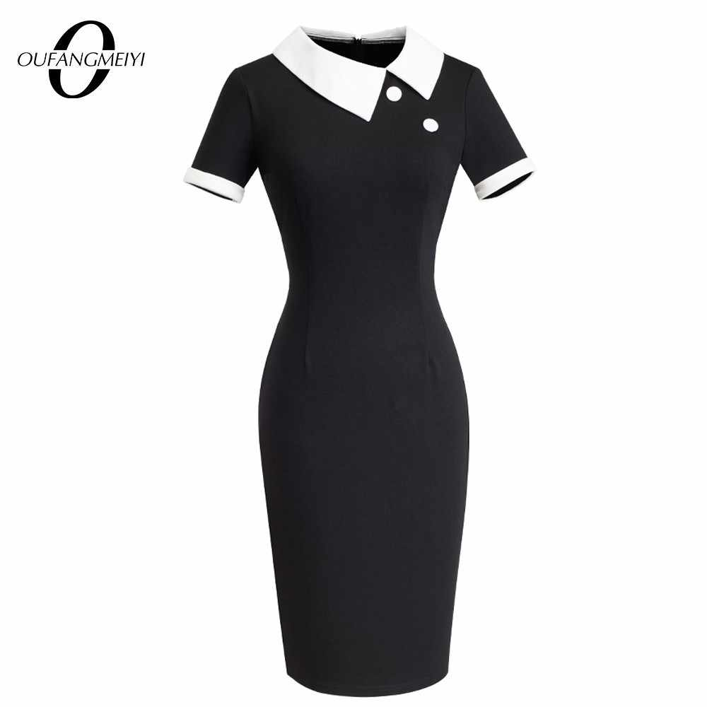 Vrouwen Elegante Dot Contrast Patchwork Werk Office Business Schede Jurk Vintage Knop Turn-Down Kraag Potlood Jurk EB506