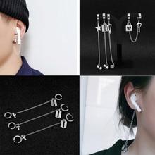 Earrings Clips Jewelry Lock-Pendant Tassel-Chain Geometric Stainless-Steel Women SOHOT
