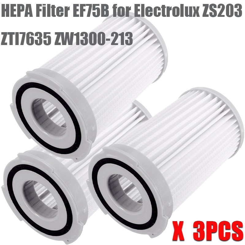 3Pcs Washable Robot Vacuum Cleaner Cartridge Pleated HEPA Filter EF75B For Electrolux ZS203 ZTI7635 ZW1300-213 Replacement Parts