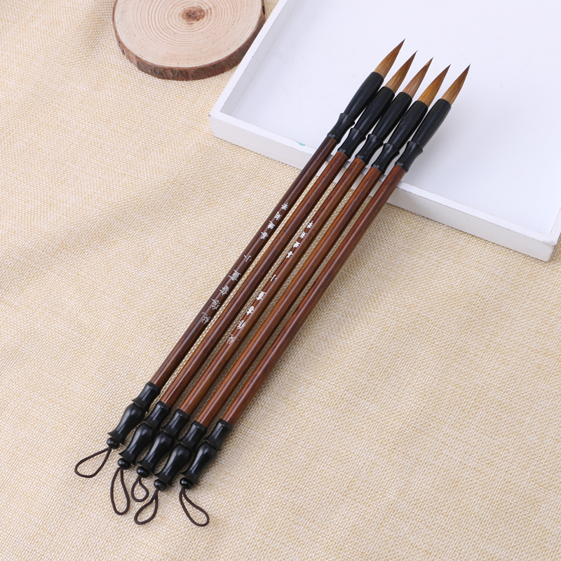 1PC Chinese Calligraphy Brushes Pen Wolf Hair Writing Brush Wooden Handle L41E