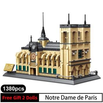 1038pcs 5210 World's Famous Classic City Architecture NOTRE DAME CATHEDRAL of Paris Building Block Model Bricks Children DIY Toy