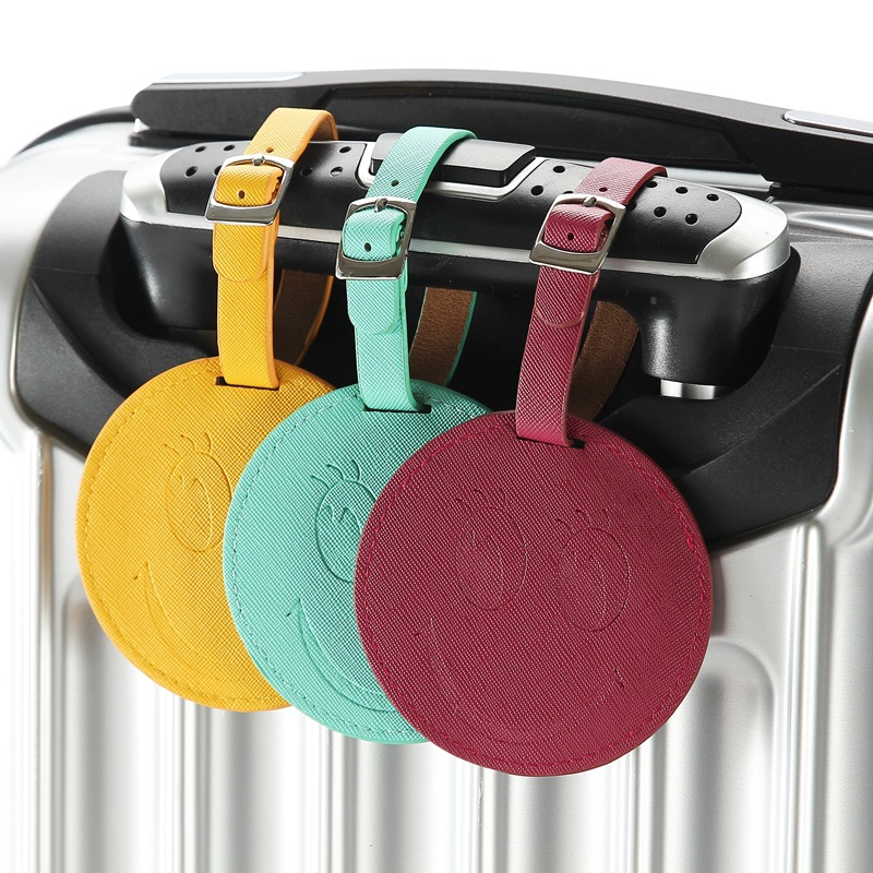 4 Colors Fashion Luggage Bag Tag Smile Face Round Shape Portable Travel Suitcase Label Travel Accessories