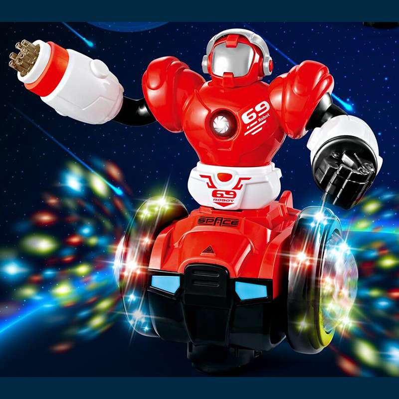 Children Electric Music Astronauts 3D Colorful Lights Drop-resistant Cartoon Rotating Universal Robot Flash Projection 360-Degre