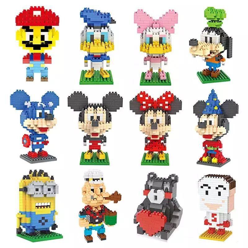 DIY Diamond Building Blocks Mini Cartoon Mickey-duck  Animals Educational Bricks Compatible Toys For Children No Box