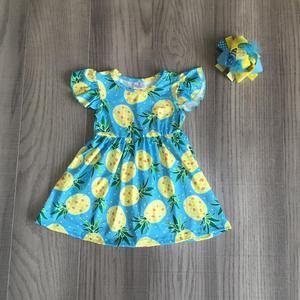Одежда для маленьких девочек; Летнее платье с ананасом и бантом для девочек; Платье из молочного шелка; Оптовая продажа