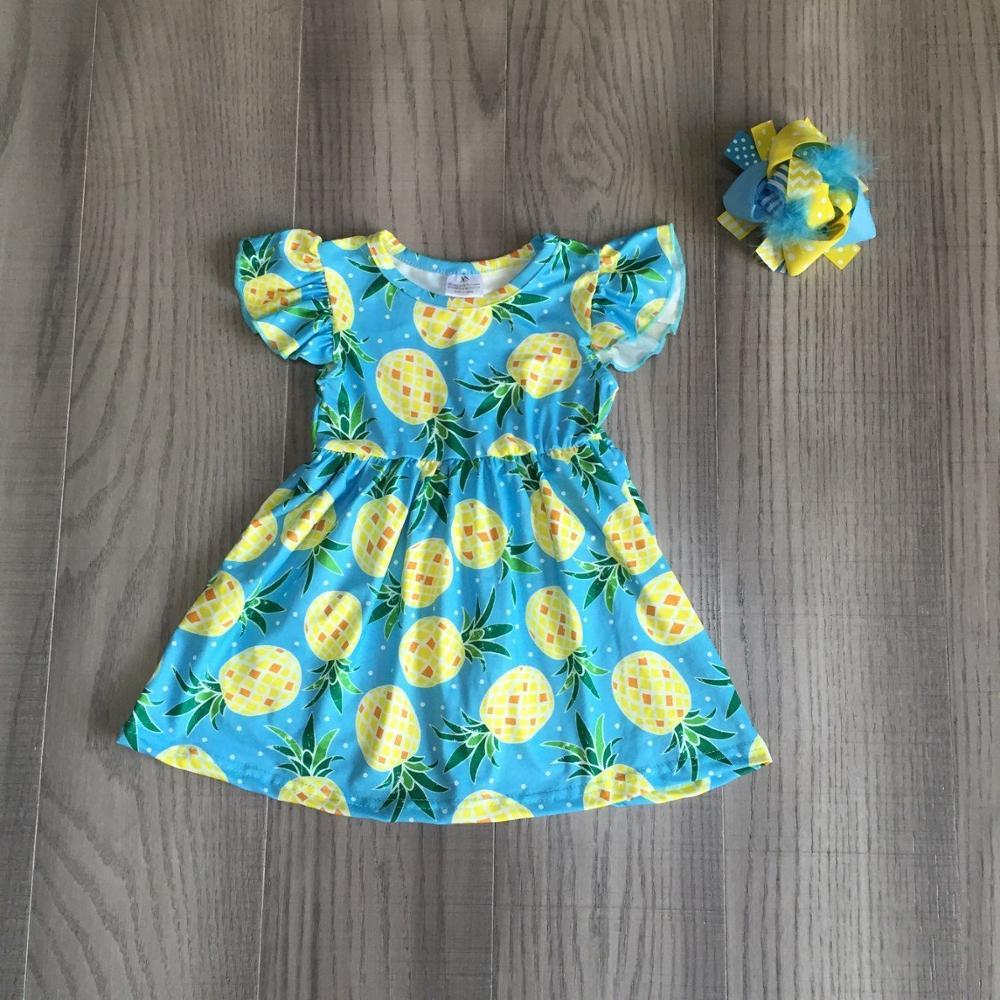 Bebê meninas roupas meninas verão abacaxi vestido com arco meninas leite vestido de seda por atacado
