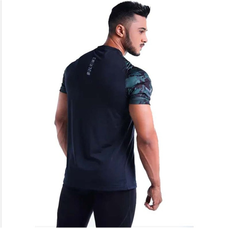 Men fashion Casual Camouflage t shirts gyms Fitness Bodybuilding workout Short sleeves tees summer male mesh breathable tops in T Shirts from Men 39 s Clothing