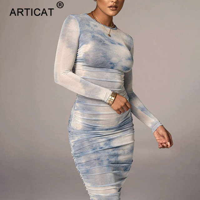 Articat Tie-Dye Print Ruched Christmas Dress For Women Long Sleeve Sexy Bodycon Winter Dress Elastic Pleated Casual Party Dress 3