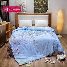 Sondeson European Palace 100% Silk Warm Comforter/Blanket/Quilt/Duvet For Summer Winter Queen King Printed Bedding Free Shipping